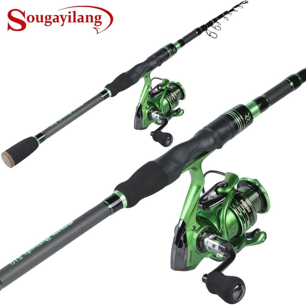 Sougayilang Telescopic Fishing Rod with GB Spinning Fishing Reel Combo -Carbon Fiber Portable Spinning Fishing Pole Reel Kit