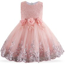 2020 Kids Girls Dresses Lace Sequins First communion dress Flower Girls Children Clothing Birthday Party Dress For Girls 2-10yrs