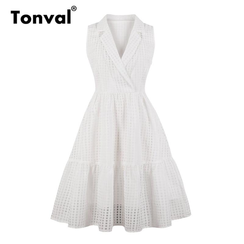 Tonval Little Plaid Office Lady Formal Dress V neck Women Elegant Vintage White Dresses A Line Work Summer Dress