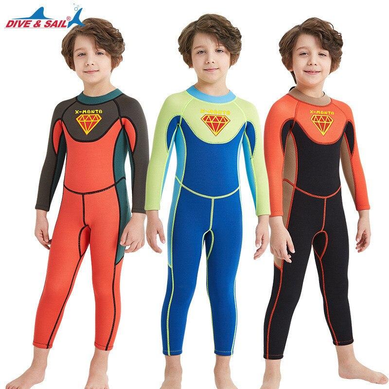 Neue Kinder Tauchen Anzug 2,5 MM Neopren anzüge Kind Für Jungen & Mädchen Warm Halten einteiliges Lange & kurzarm UV Schutz Bademode