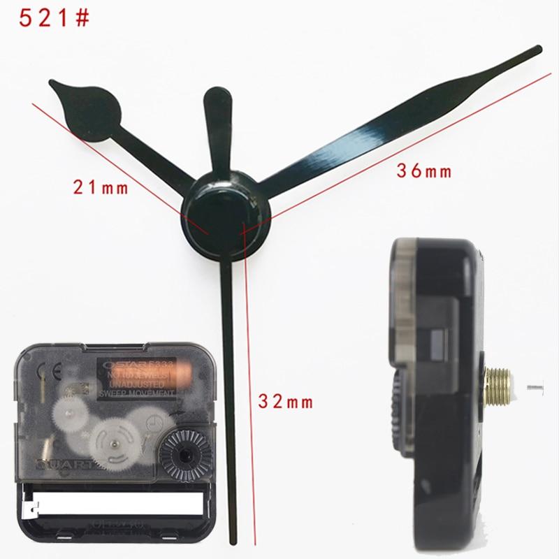 Ostar Movimento Silencioso mecanismo de relógio de quartzo de Plástico com preto curto mãos 521 # Acessório Relógio de Quartzo Relógio DIY kits F333