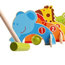 Hot Selling Kids Wooden Cartoon Animals Gateball Toys Family Outdoor Croquet Golf Toy Parent Children Games
