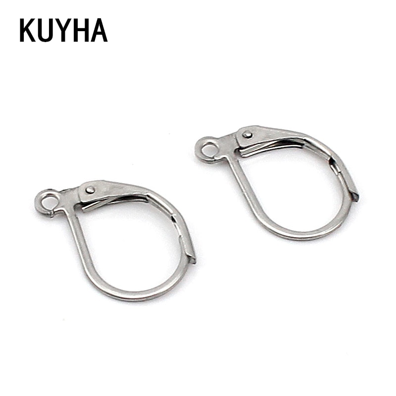 Componentes de joyería, broches y ganchos para pendientes Leverback, opción de 2 colores de oro/plata con espejo de acero inoxidable 316L