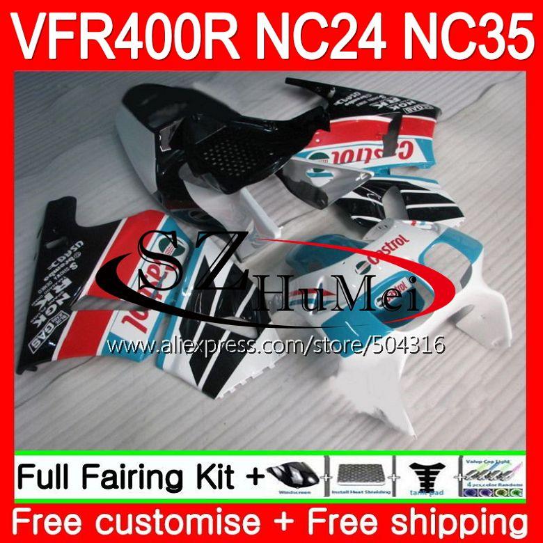 RVF400R para HONDA VFR400 R RR NC24 VFR400R 87 88 94 95 96 125SH.13 NC35 V4 VFR 400R cian blanco 1987, 1988, 1994, 1995, 1996 carenado