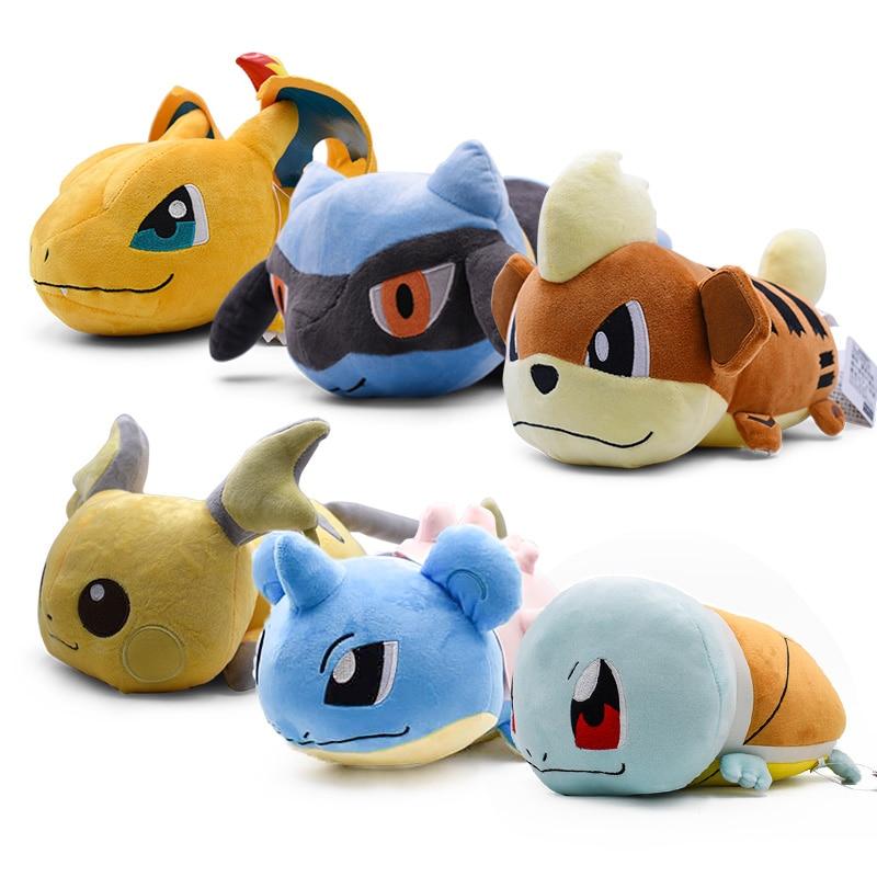 7 estilo Anime Kawaii Plush Doll Toy Charizard Squirtle Raichu Stuffed Dragonite Travesseiro Bonecas Para Presente Das Crianças Frete Grátis