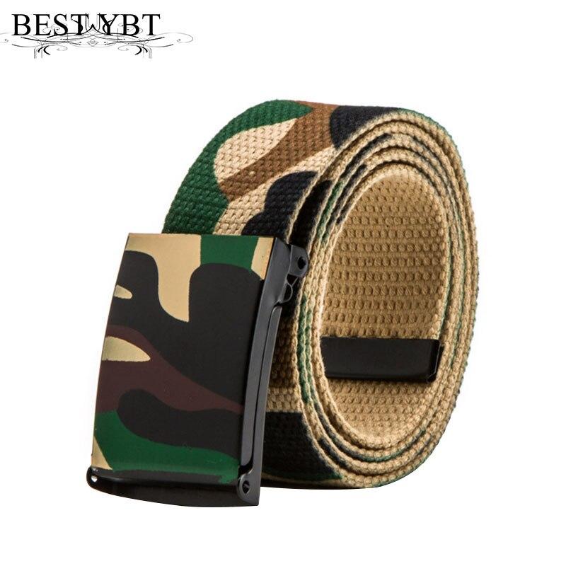 Best YBT Unisex Canvas Jeans Army Tactical Waist Belt Iron Soomth buckle Casual High Quality Unisex Belt