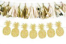 Tropical Anniversary Bridal Shower Banners Hawaiian Luau Gold Glitter Pineapple Garland Pineapple Decoration Party Aloha Banner