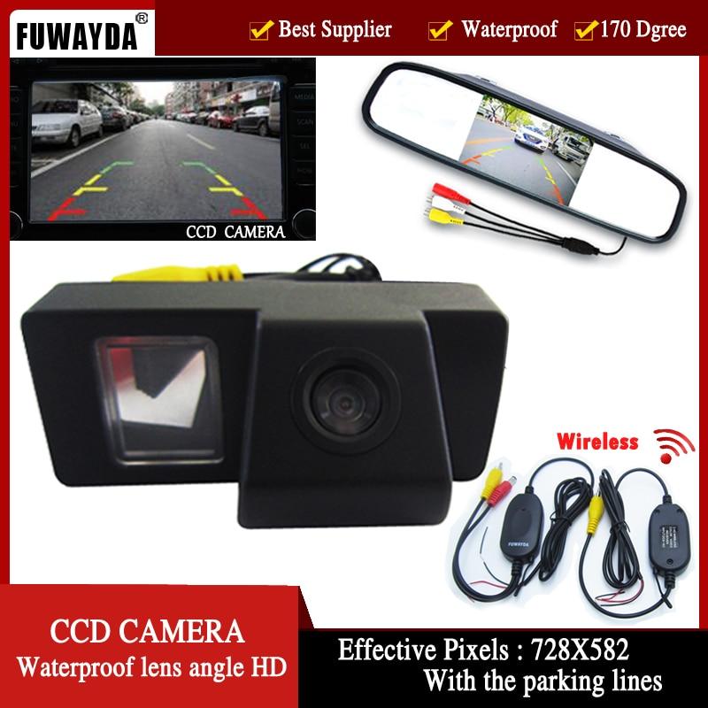 FUWAYDA Wireless CCD cámara de visión trasera de coche para TOYOTA LAND CRUISER 200 LC200/Toyota REIZ 2009 con 4,3 pulgadas Monitor de espejo retrovisor
