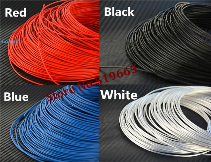 Alta qualidade 18awg teflon prata fio 1m2 banhado a prata fio de cobre para diy linha de cabo de alimentação 50 m/lote --- 4 cor