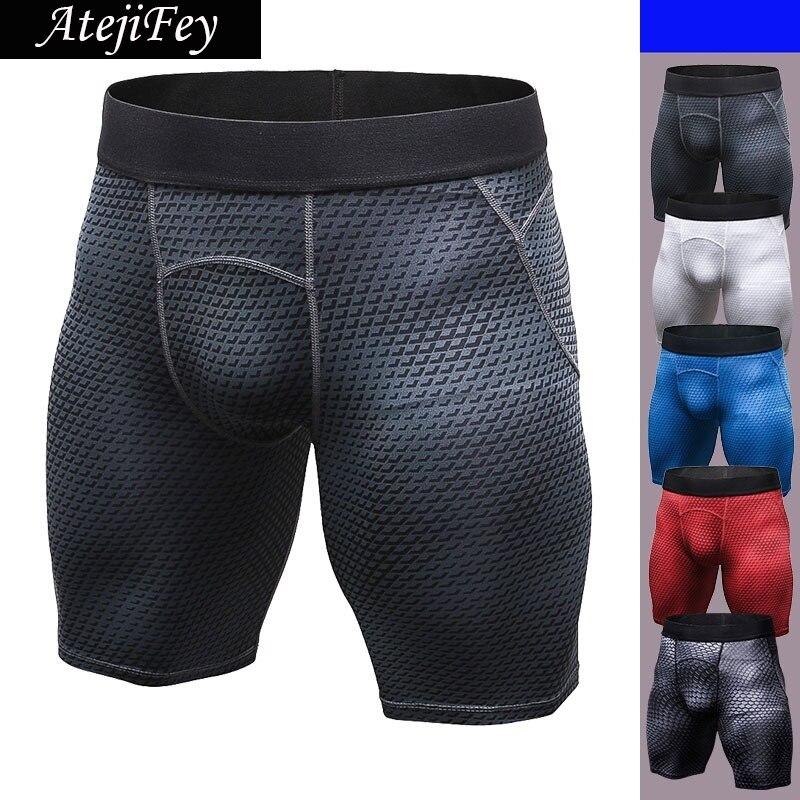 AtejiFey Athletic Men's Sport Tight Shorts Elastic Waist Shorts Fitness Gym Workout Skinny Running Yoga Men Biker Short Trousers