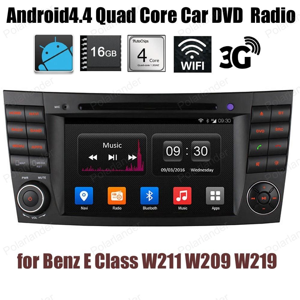 Android4.4 DVD del coche 1024*600 Quad Core radio compatible con GPS BT 3G WiFi DTV DAB + TPMS para B/enz E C/muchacha W211 W209 W219