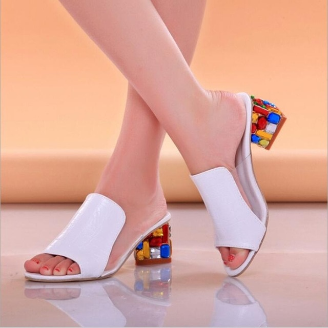 Sandalias de mujer 2020, zapatillas de verano para señora, zapatos, sandalias de tacón alto para mujer, zapatilla de verano con diamantes de imitación a la moda