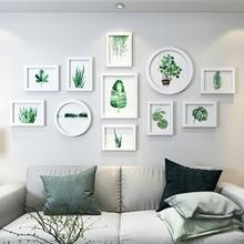 11 pièces Rectangle rond cadres Photo pour photos, bricolage suspendus Album Photo mural, Home Decer blanc Base cadre Photo ensemble