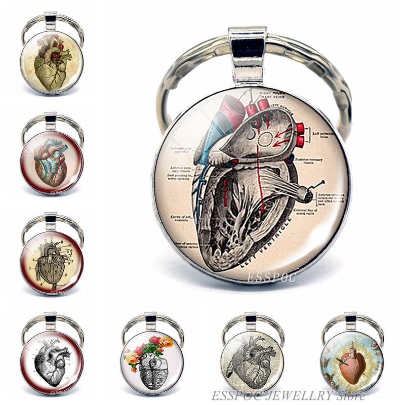 Брелок для ключей в виде сердца, металлический брелок для биолога, подарок