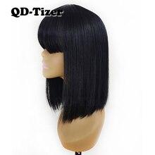 Perruque Bob sans Lace synthétique à frange-QD Tizer   Perruque de couleur noire courte, perruque sans lace, perruque en soie pour femmes