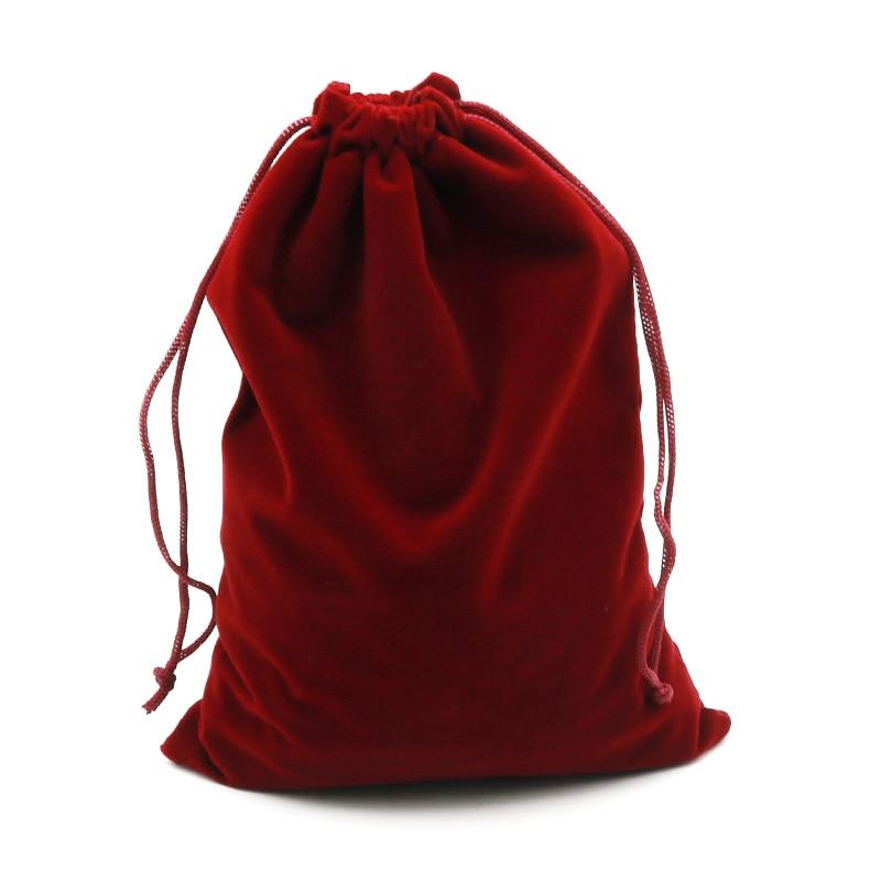 2pcs/lot 15x20cm Dark Red Velvet Bag Big Jewelry Bag Bracelet Candy Jewelry Packaging Bags Wedding D