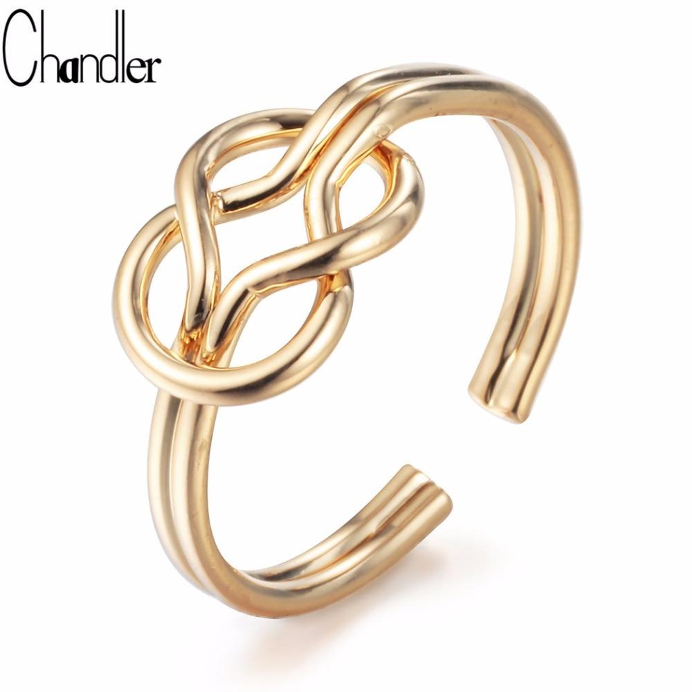 Chandler Sailor Knot anillos amor nudo joyería doble alambre arco abierto anillo para Niñas para siempre amistad infinita joyería mejores regalos