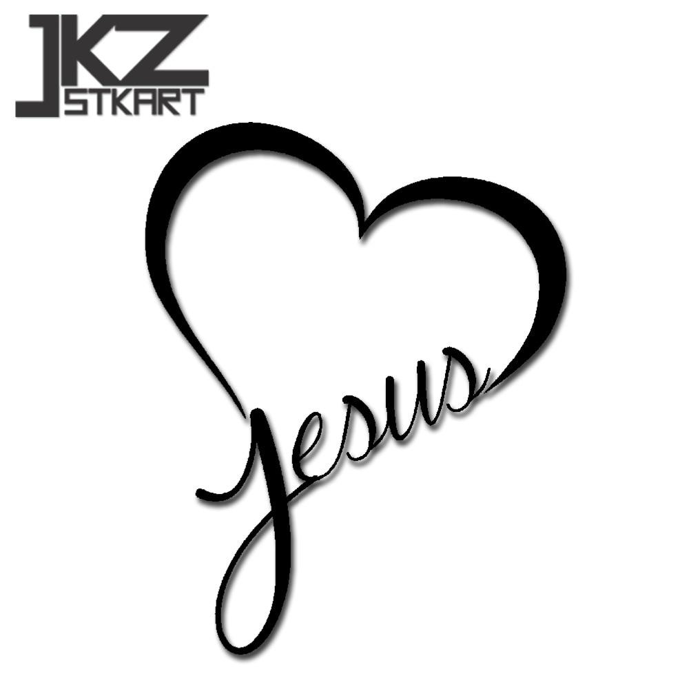 Pegatina de vinilo troquelada para coche de JKZ STKART, pegatinas decorativas de Jesucristo, corazón, amor, 15x12 cm para moto, casco para portátil