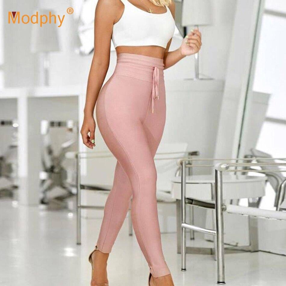 ¡Novedad de 2020! Pantalones de tubo elásticos ajustados de cintura alta para mujer, pantalones de Navidad ajustados sexis a la moda con borlas y bandas de rayón