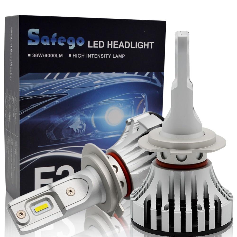 Safego 36W H11 H4 H7 Kit de faros LED de coche-Safego H8 H9 9005 9006 bombillas 2 Chips LED súper brillantes 6000Lm Auto bombilla blanca 6000K