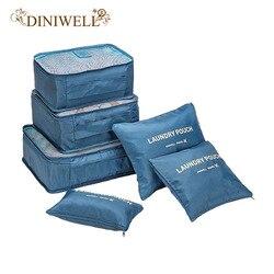 DINIWELL Novo 6 pçs/set Alta Qualidade Oxford Pano de Malha Saco De Viagem Em Saco Organizador Bagagem Embalagem Cube Organizador para Roupas