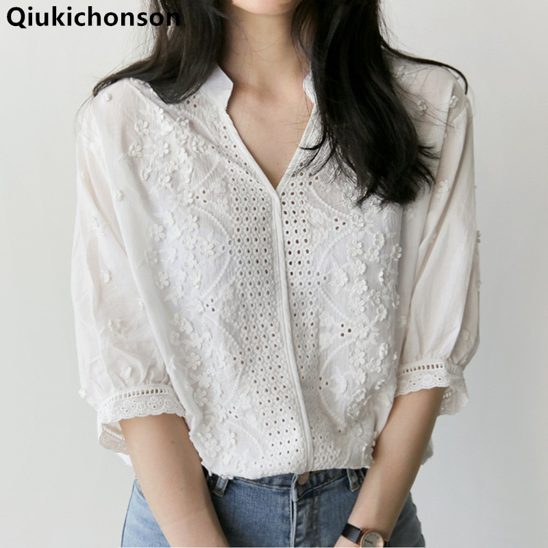 Qiukichonson White Shirts Women 2018 Spring Summer Tops Ladies Korean Fashion Casual V-Neck Hollow out Embroidery Blouse Cotton