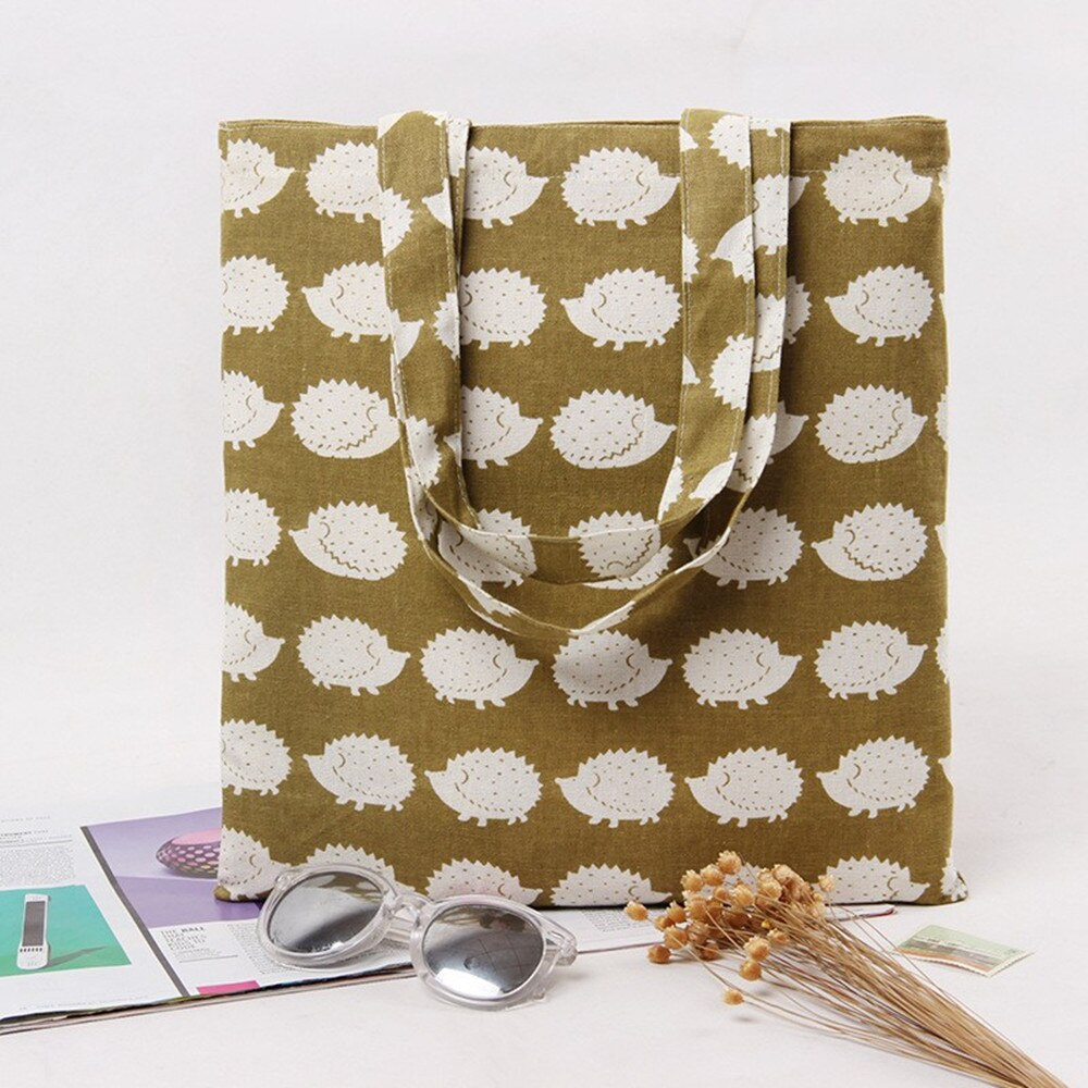 YILE Brand New Cotton Linen Eco Reusable Shoulder Bag Shopping Tote Print Hedgehog L245