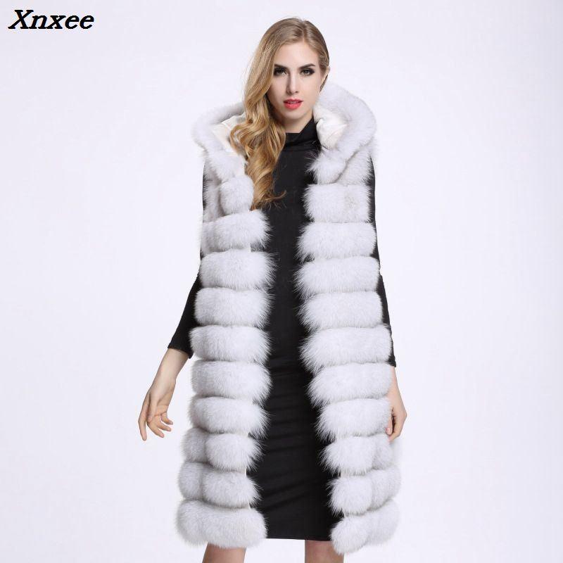 Chaleco de piel sintética de lujo grueso largo sin mangas chaqueta de...