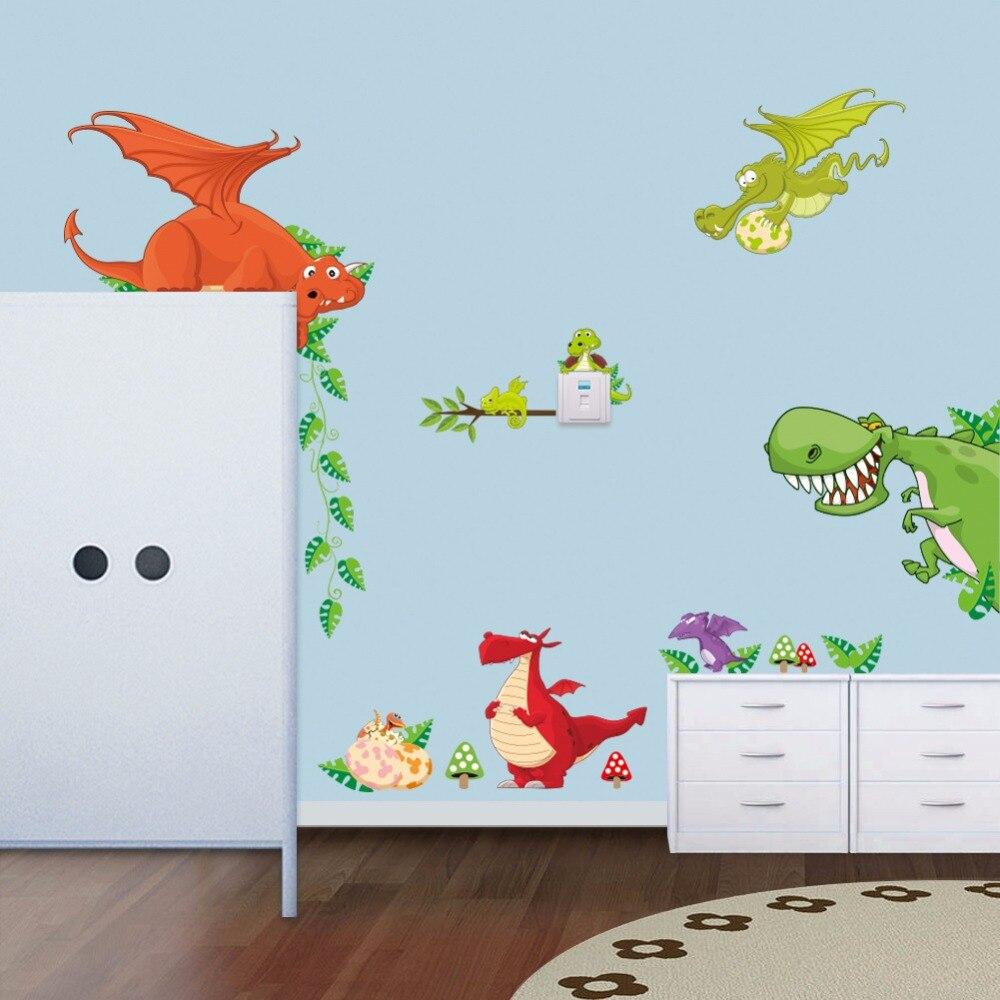 Dragon Dinosaur Cartoon Wall Sticker Vinyl Decal Art Mural Kid Nursery Art Decor