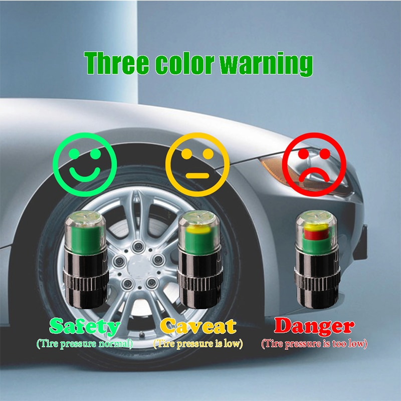 4 piezas 2.4bar neumático de coche válvula de presión de aire tapas Sensor indicador para Lifan X60 Cebrium Solano nuevo Celliya sonriente geely X7 EC7