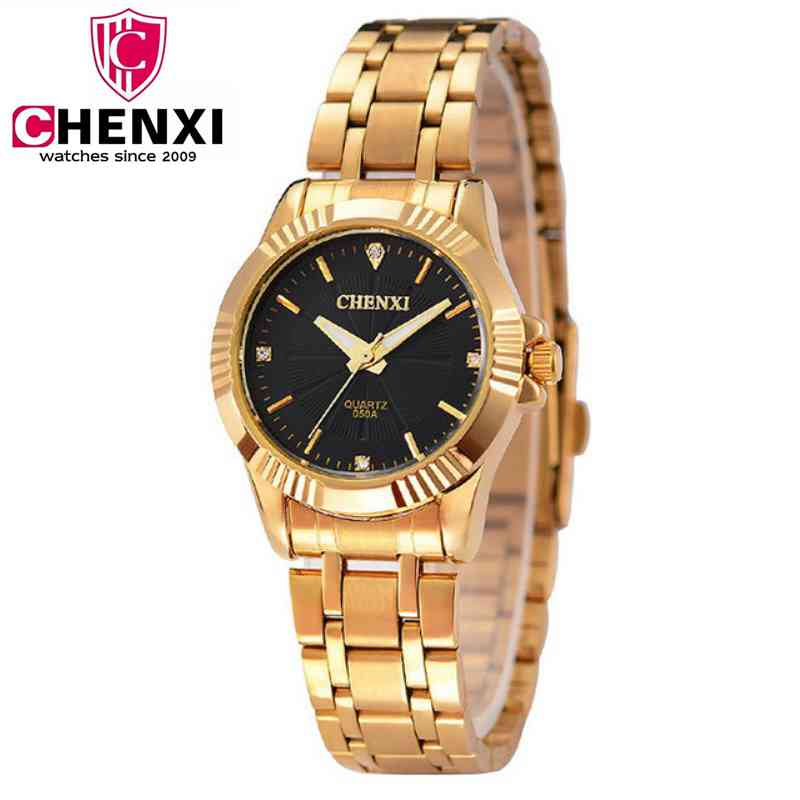 Golden Clock Gold Fashion Women Watch Full gold Stainless Steel Quartz WristWatches Wholesale CHENXI Gold Watch Relogio Feminino