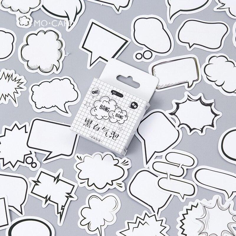 45 unids/pack caja de diálogo creativa álbum etiquetas adhesivas de papel manualidades y Scrapbooking Decoración Para diario pegatina Linda papelería