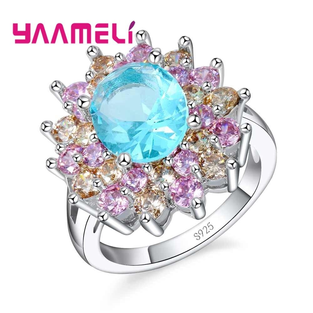 Оптовая продажа, роскошное Стильное кольцо в виде розового цветка с кристаллами, обручальное свадебное ювелирное изделие из стерлингового ...