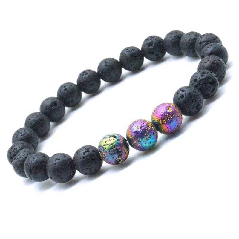 8mm colorido plateado Lava cuentas de piedra para manualidades 8mm negro volcánico, aceite esencial de aromaterapia difusor pulsera Yoga Strand joyas