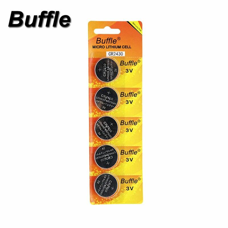 Buffle 5 unids/pack CR2430 DL2430 2430 3V batería de botón para ver auriculares de juguete