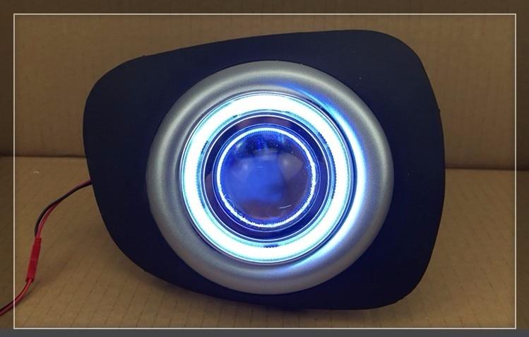 Eosuns cob anjo olho led luz de circulação diurna drl + halogênio nevoeiro lâmpada lente do projetor para mitsubishi pajero esporte 2