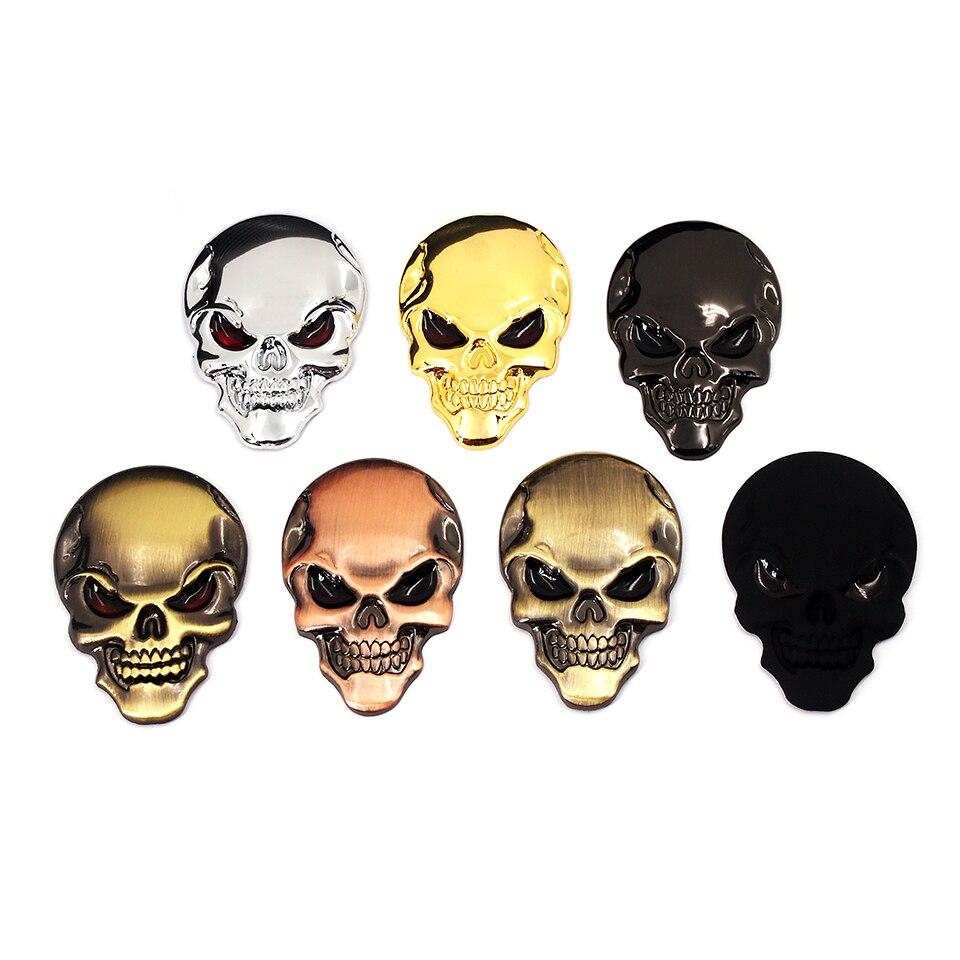 7 cores 3d legal estilo do carro de metal crânio esqueleto diabo 3d chrome emblema auto decalque da motocicleta adesivos carro acessórios