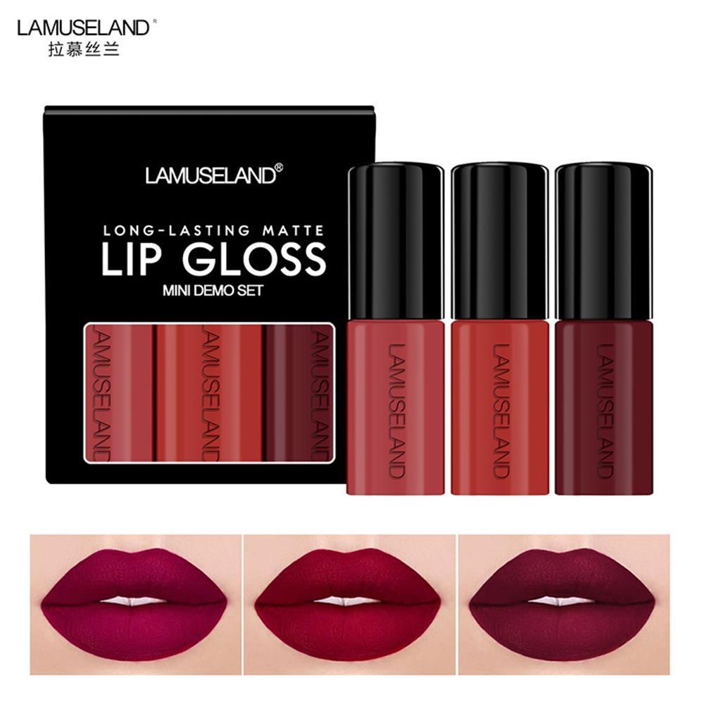 3PCs/Set Women Liquid Lipstick Set Lips Tattoo Paint Pigments Long Lasting Wine Red Lip Gloss Tint Matte Lip Cosmetic Beauty