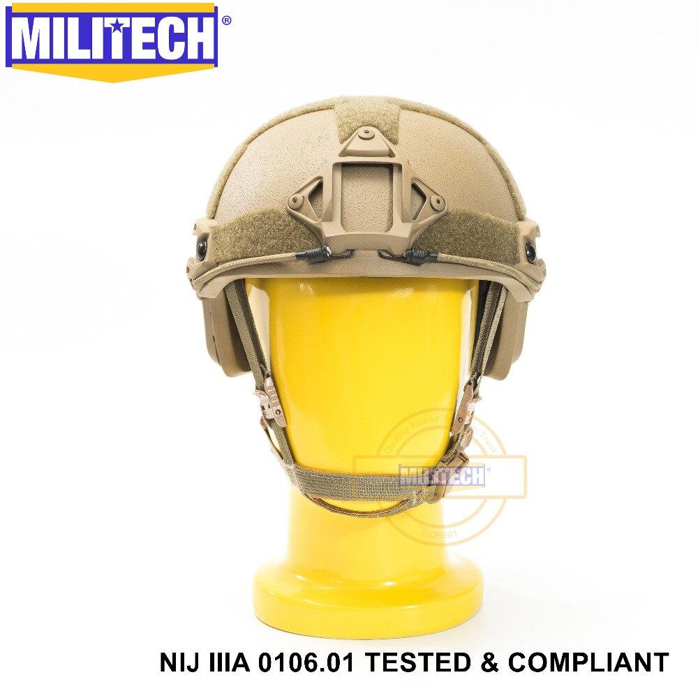 Casco balístico de aramida a prueba de balas con 5 años de garantía, certificado ISO 2019, nuevo MILITECH CB NIJ nivel IIIA 3A