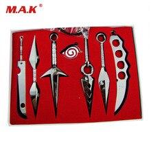 7 pièces/ensemble NARUTO Mini armes en métal modèle Hatake Kakashi Deidara Kunai Shuriken épée Kunai couteau Cosplay jouets Collections cadeau