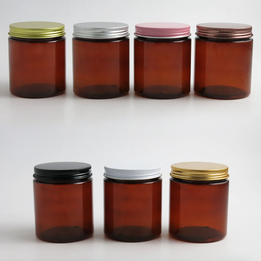 24x250g frascos vacíos de color ámbar para cremas cosméticas, tarros de crema de 250cc 250ml para cosméticos, envases de botellas de plástico con tapas metálicas