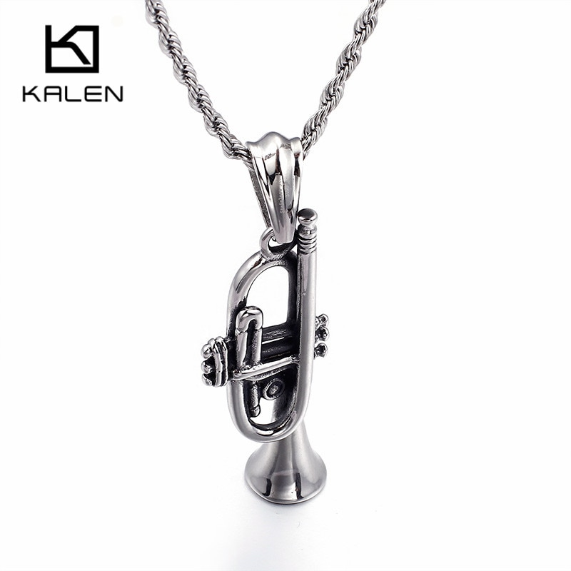 Collar de trompeta único Kalen, collar con colgante de trompeta de acero inoxidable para hombre, collar de cadena larga de 60cm, joyería de banda de Rock para hombre