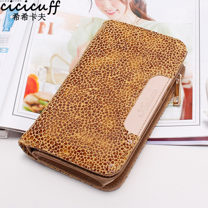 Leopard Pattern Oil Wax Cow Leather Wallet Women Genuine Leather Long Clutch with Zipper Coin Pocket Card Holder Purse Rahakott