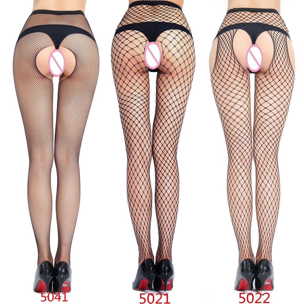 Pantimedias sexis de talla grande, lencería erótica, pantimedias de malla con abertura única, pantimedias de malla de tres agujeros para antes y después