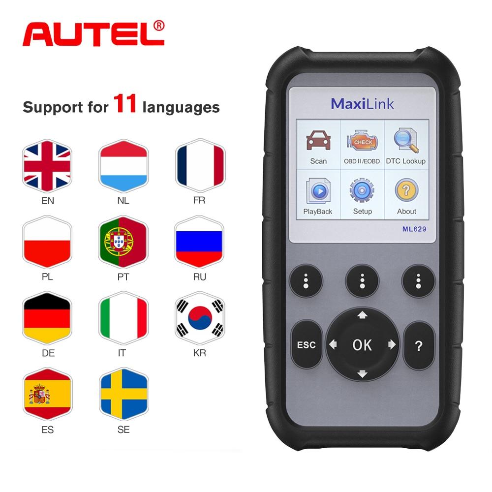 Autel MaxiLink ML629 OBD2 Scanner Code Reader ABS/SRS Multi Languages Car Diagnostic Tool, Turns off Engine Light (MIL) ABS/SRS
