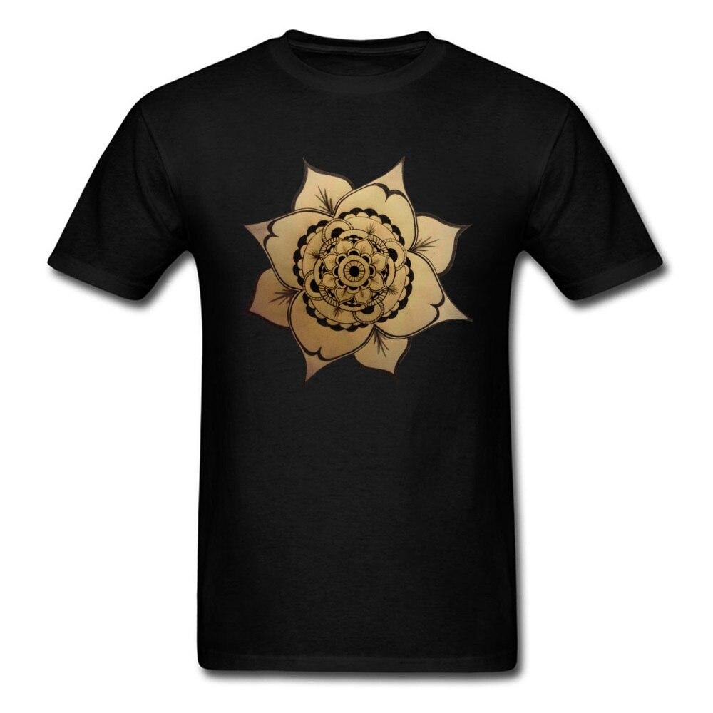 Camiseta de Mandala, camisetas para hombre, camiseta de 100% algodón para cumpleaños, camisetas de moda para regalo de Día de la Madre, camisetas negras con estampado de flores, ropa para mujer