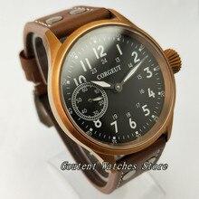 43mm Corgeut Leather Black Dial Bronze Case Sapphire Glass Hand Winding Men's Watch