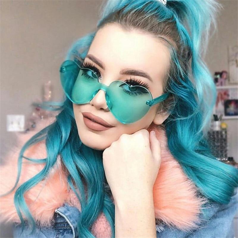 New Fashion cute sexy retro Love Heart Rimless Sunglasses Women Luxury Brand Designer Sun glasses Ey