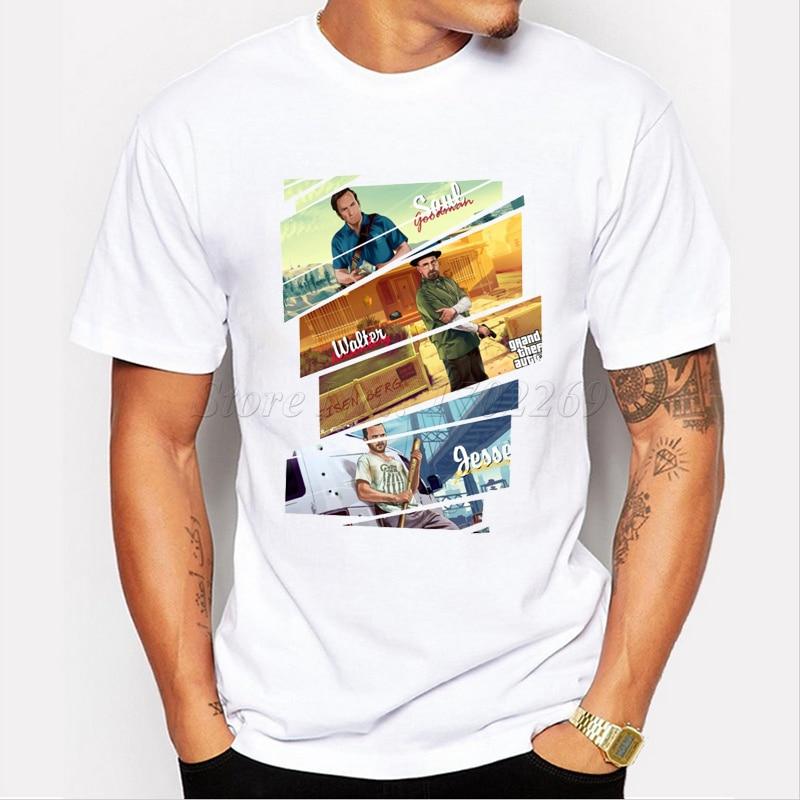 2019 camiseta masculina com estampa de walt e jesse