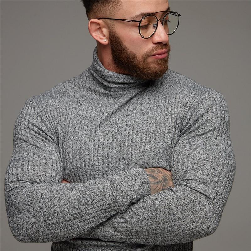 Fashion Winter Warm Sweater Men Turtleneck Mens Sweaters Slim Fit Pullover Men Classic Sweter Men Knitwear Pull Homme